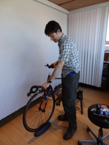 Josh modifying handlebars for the best fit